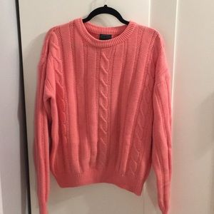 IZOD LACOSTE PINK CABLE KNIT SWEATER TOP
